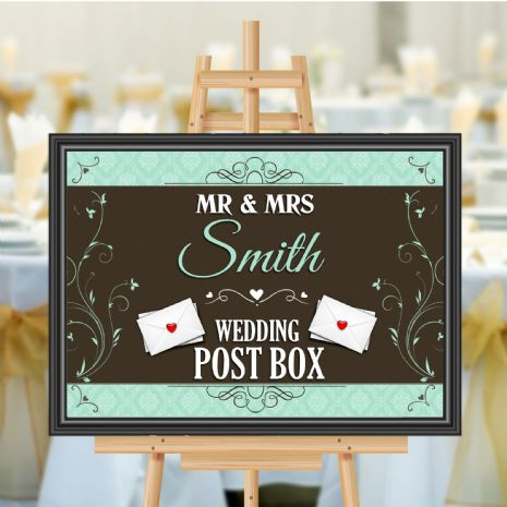 Personalised Wedding Money & Cards Post Box Sign Poster Banner - Print N177